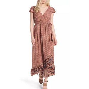 BAND OF GYPSIES Flutter Sleeve Wrap Maxi Dress